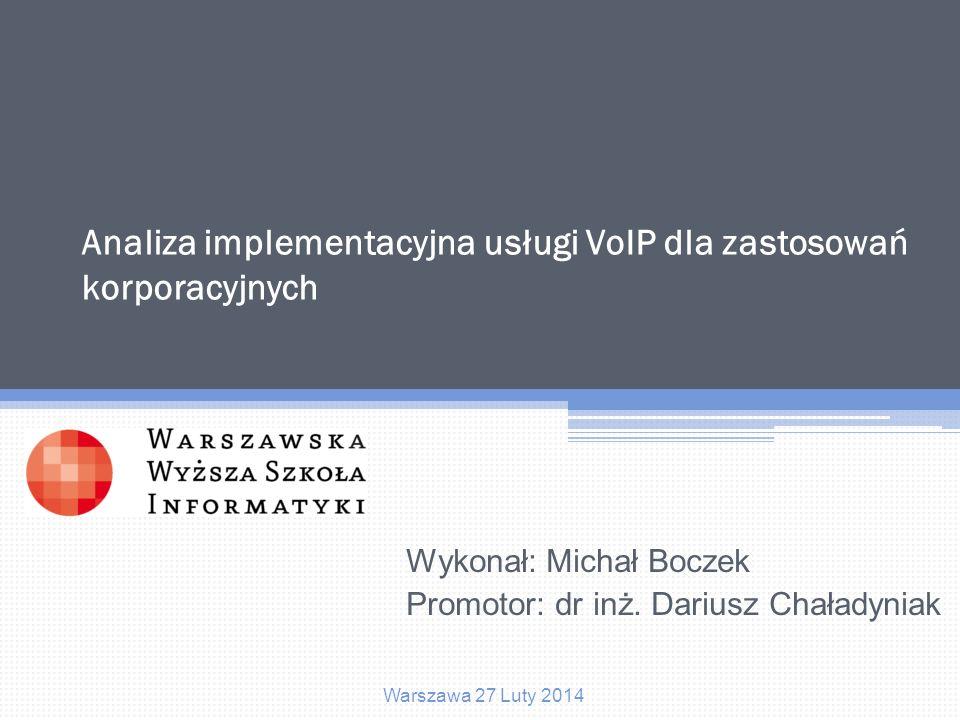Analiza implementacyjna usługi VoIP dla zastosowań korporacyjnych Agenda 1.Modelowe przedsiębiorstwo 2.Wymagania przedsiębiorstwa 3.Projekt rozwiązania 4.Środowisko sieciowe 5.Przebieg wdrożenia 6.Podsumowanie