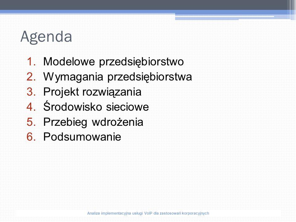 """Analiza implementacyjna usługi VoIP dla zastosowań korporacyjnych Opis przedsiębiorstwa """"Assurence S.A działa w branży finansowo- ubezpieczeniowej, ▫ Warszawa – Centrala Firmy –150 pracowników ▫ Poznań – Oddział Zachód - 70 pracowników ▫ Gdańsk – Oddział Północ - 40 pracowników ▫ Kraków - Oddział Południe - 60 pracowników ▫ Lublin – Oddział Wschód - 40 pracowników ▫ Wrocław – Oddział Call - 20 pracowników"""