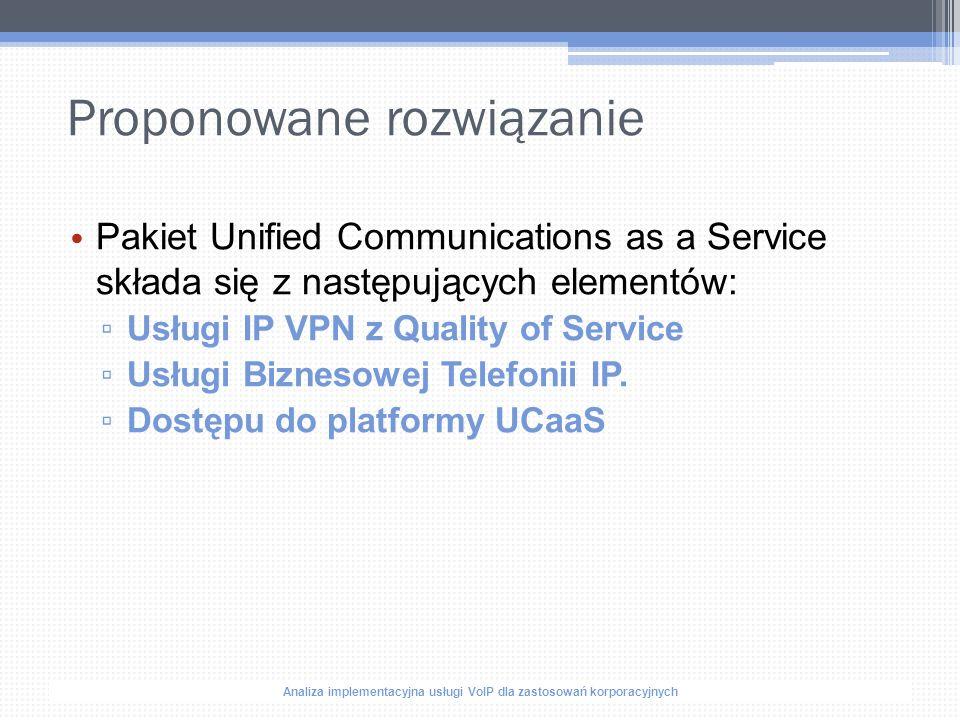 Analiza implementacyjna usługi VoIP dla zastosowań korporacyjnych Proponowane rozwiązanie Pakiet Unified Communications as a Service składa się z następujących elementów: ▫ Usługi IP VPN z Quality of Service ▫ Usługi Biznesowej Telefonii IP.