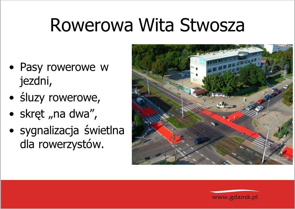 """Rowerowa Wita Stwosza Pasy rowerowe w jezdni, śluzy rowerowe, skręt """"na dwa , sygnalizacja świetlna dla rowerzystów."""