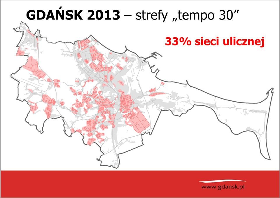 """GDAŃSK 2013 – strefy """"tempo 30 33% sieci ulicznej"""