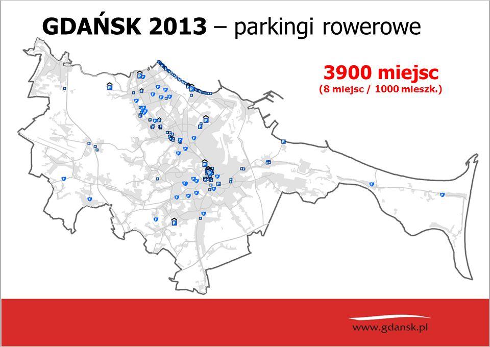 GDAŃSK 2013 – parkingi rowerowe 3900 miejsc (8 miejsc / 1000 mieszk.)