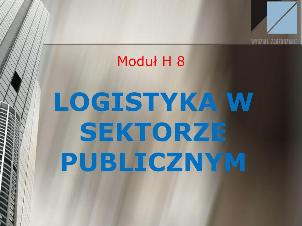 LOGISTYKA W SEKTORZE PUBLICZNYM Moduł H 8