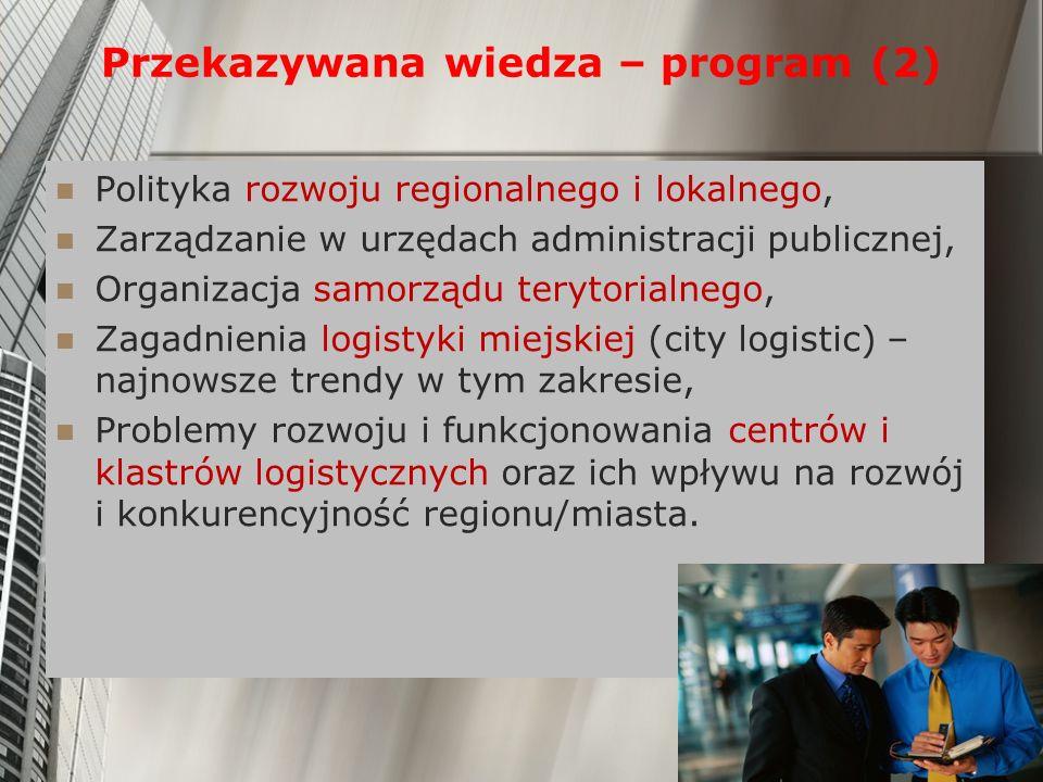Przekazywana wiedza – program (2) Polityka rozwoju regionalnego i lokalnego, Zarządzanie w urzędach administracji publicznej, Organizacja samorządu te
