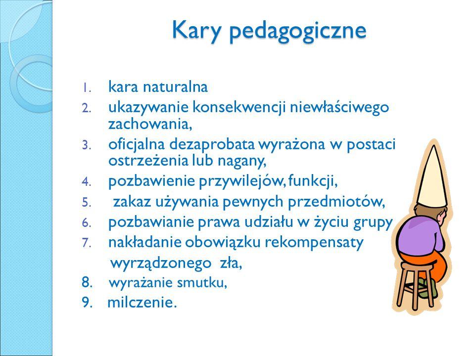 Kary pedagogiczne 1. kara naturalna 2. ukazywanie konsekwencji niewłaściwego zachowania, 3.