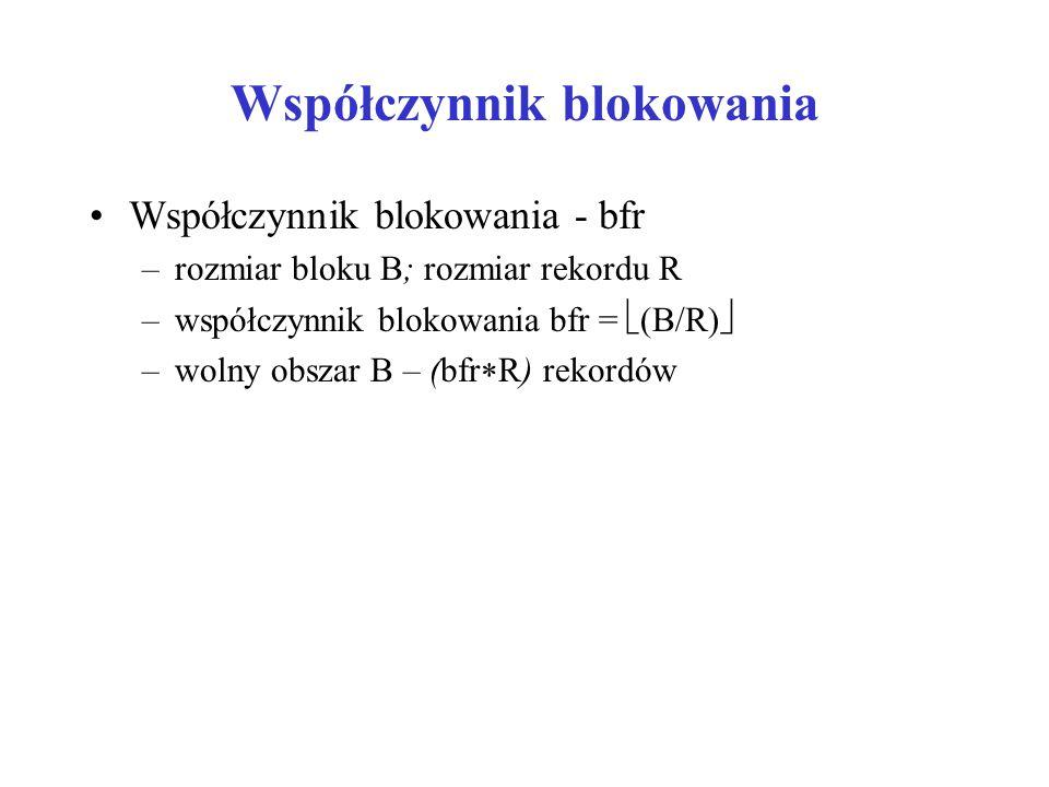 Współczynnik blokowania Współczynnik blokowania - bfr –rozmiar bloku B; rozmiar rekordu R –współczynnik blokowania bfr =  (B/R)  –wolny obszar B – (bfr  R) rekordów