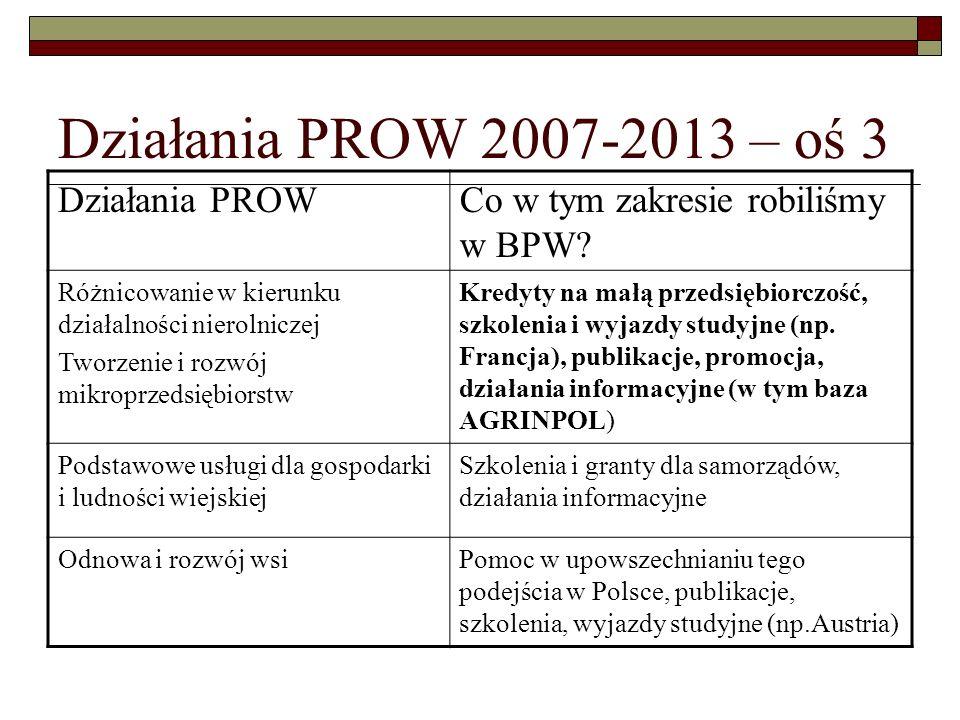 Działania PROW 2007-2013 – oś Leader  Upowszechnianie podejścia Leader w Polsce (od 1999 roku), przygotowanie ekspertów  Autorski program szkoleniowy dla trenerów i animatorów partnerstw lokalnych (ponad 80 osób przeszkolonych w latach 2003-2005)  Akcja informacyjna przygotowująca do Pilotażowego Programu Leader+ (w efekcie blisko 250 wniosków do Schematu I i ponad 180 wniosków do Schematu II)  Pomoc w utworzeniu Forum Aktywizacji Obszarów Wiejskich i prowadzenie jego Sekretariatu