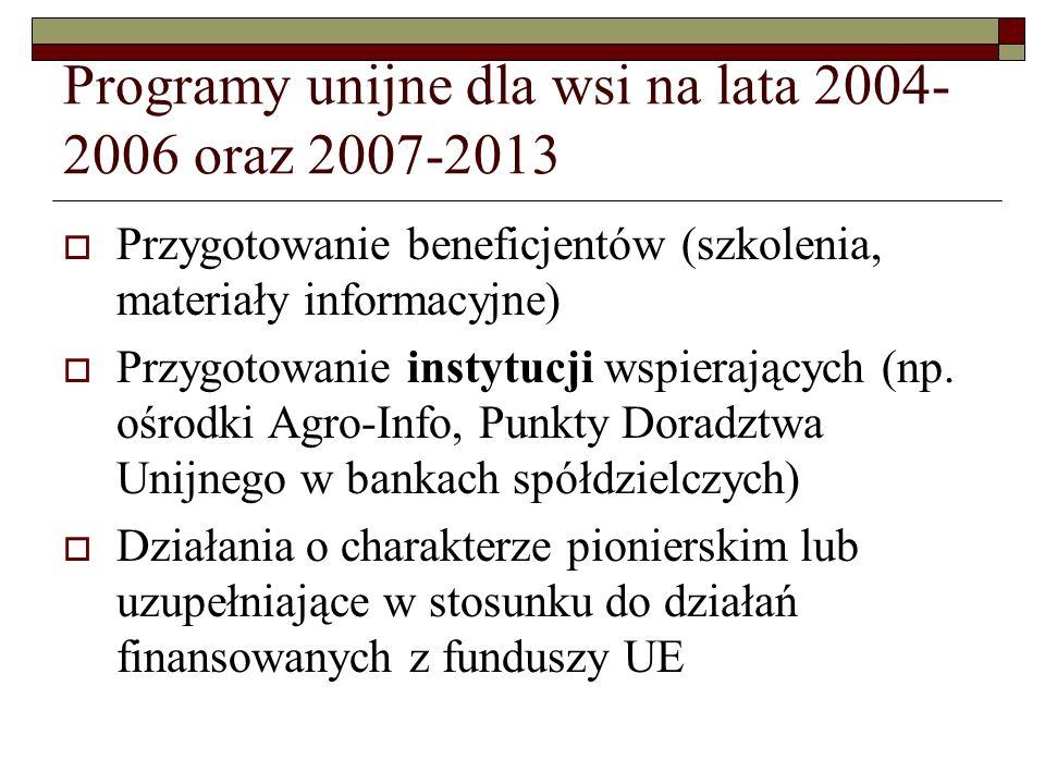 Programy unijne dla wsi na lata 2004- 2006 oraz 2007-2013  Przygotowanie beneficjentów (szkolenia, materiały informacyjne)  Przygotowanie instytucji wspierających (np.