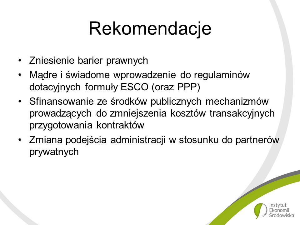 Rekomendacje Zniesienie barier prawnych Mądre i świadome wprowadzenie do regulaminów dotacyjnych formuły ESCO (oraz PPP) Sfinansowanie ze środków publicznych mechanizmów prowadzących do zmniejszenia kosztów transakcyjnych przygotowania kontraktów Zmiana podejścia administracji w stosunku do partnerów prywatnych