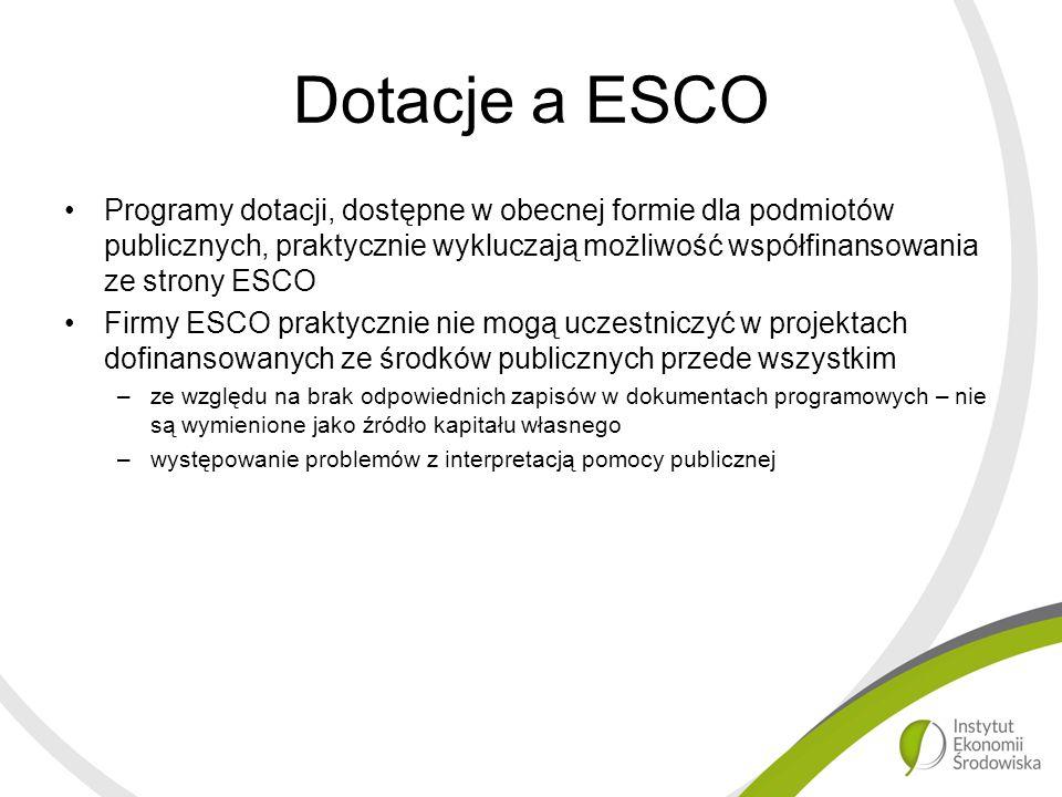 Dotacje a ESCO Programy dotacji, dostępne w obecnej formie dla podmiotów publicznych, praktycznie wykluczają możliwość współfinansowania ze strony ESCO Firmy ESCO praktycznie nie mogą uczestniczyć w projektach dofinansowanych ze środków publicznych przede wszystkim –ze względu na brak odpowiednich zapisów w dokumentach programowych – nie są wymienione jako źródło kapitału własnego –występowanie problemów z interpretacją pomocy publicznej