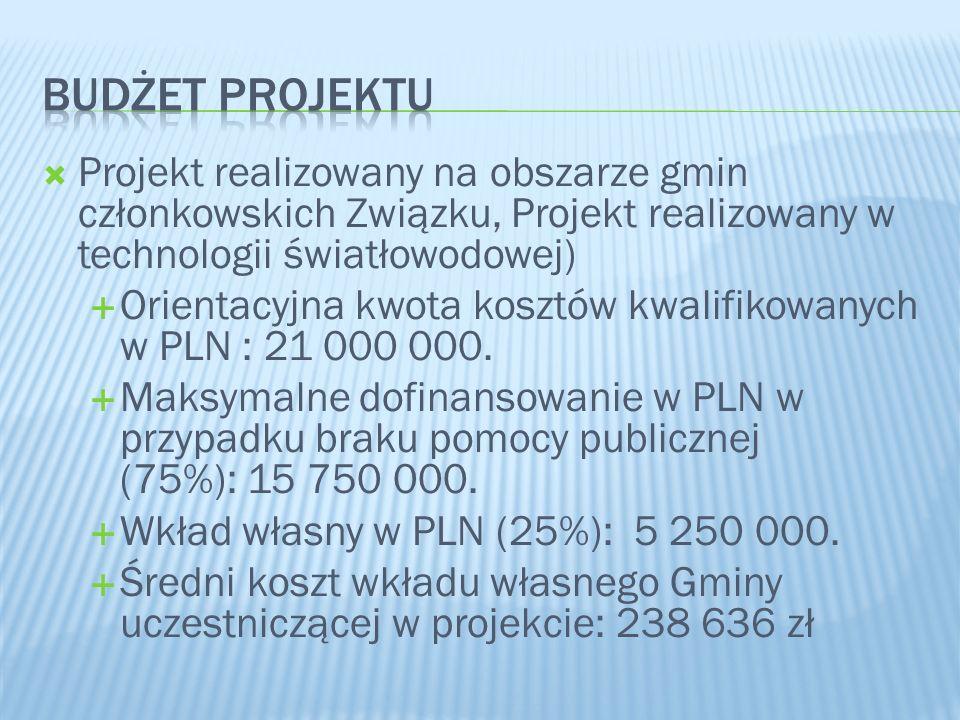  Projekt realizowany na obszarze gmin członkowskich Związku, Projekt realizowany w technologii światłowodowej)  Orientacyjna kwota kosztów kwalifikowanych w PLN : 21 000 000.