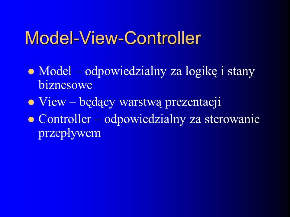 Model-View-Controller Model – odpowiedzialny za logikę i stany biznesowe View – będący warstwą prezentacji Controller – odpowiedzialny za sterowanie przepływem