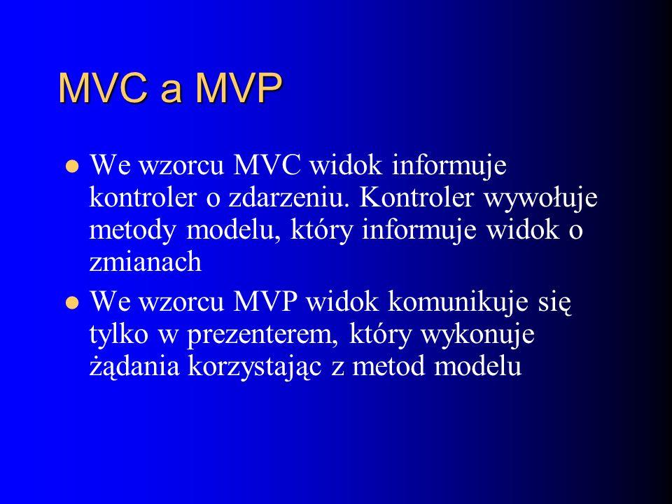 MVC a MVP We wzorcu MVC widok informuje kontroler o zdarzeniu.