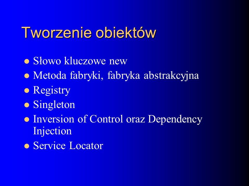 Tworzenie obiektów Słowo kluczowe new Metoda fabryki, fabryka abstrakcyjna Registry Singleton Inversion of Control oraz Dependency Injection Service Locator