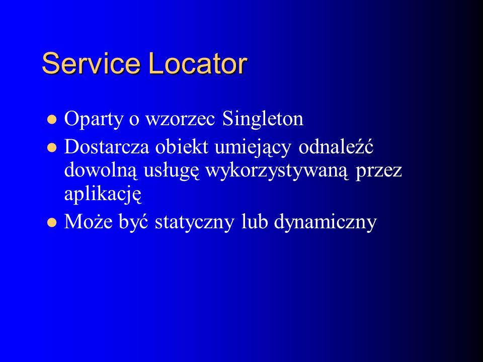 Service Locator Oparty o wzorzec Singleton Dostarcza obiekt umiejący odnaleźć dowolną usługę wykorzystywaną przez aplikację Może być statyczny lub dynamiczny