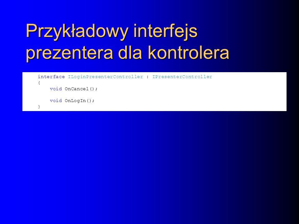 Przykładowy interfejs prezentera dla kontrolera interface ILoginPresenterController : IPresenterController { void OnCancel(); void OnLogIn(); }