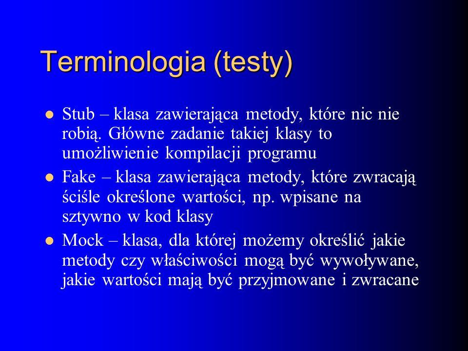 Terminologia (testy) Stub – klasa zawierająca metody, które nic nie robią.
