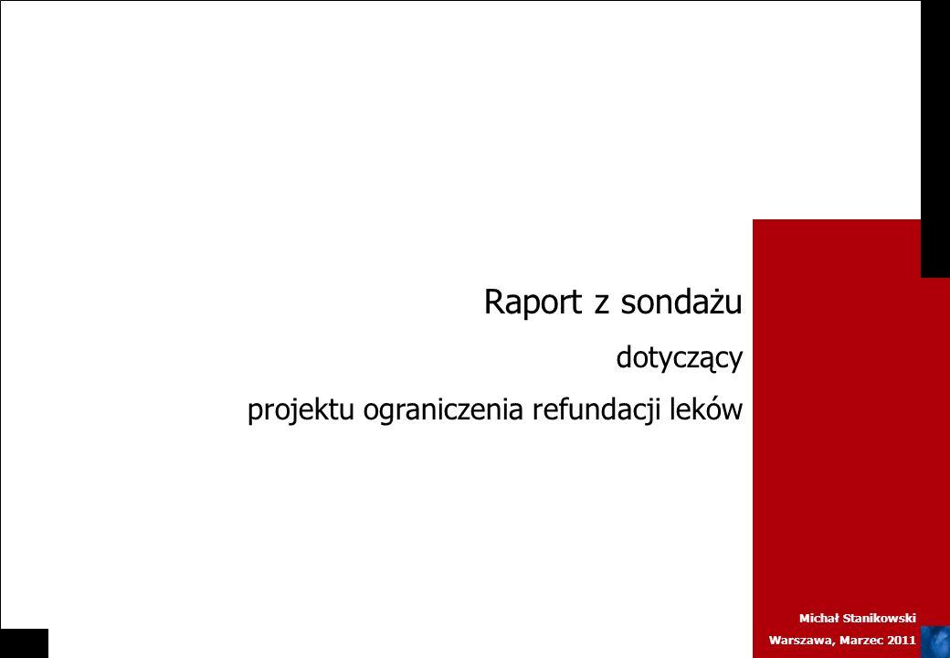 Michał Stanikowski Warszawa, Marzec 2011 Raport z sondażu dotyczący projektu ograniczenia refundacji leków