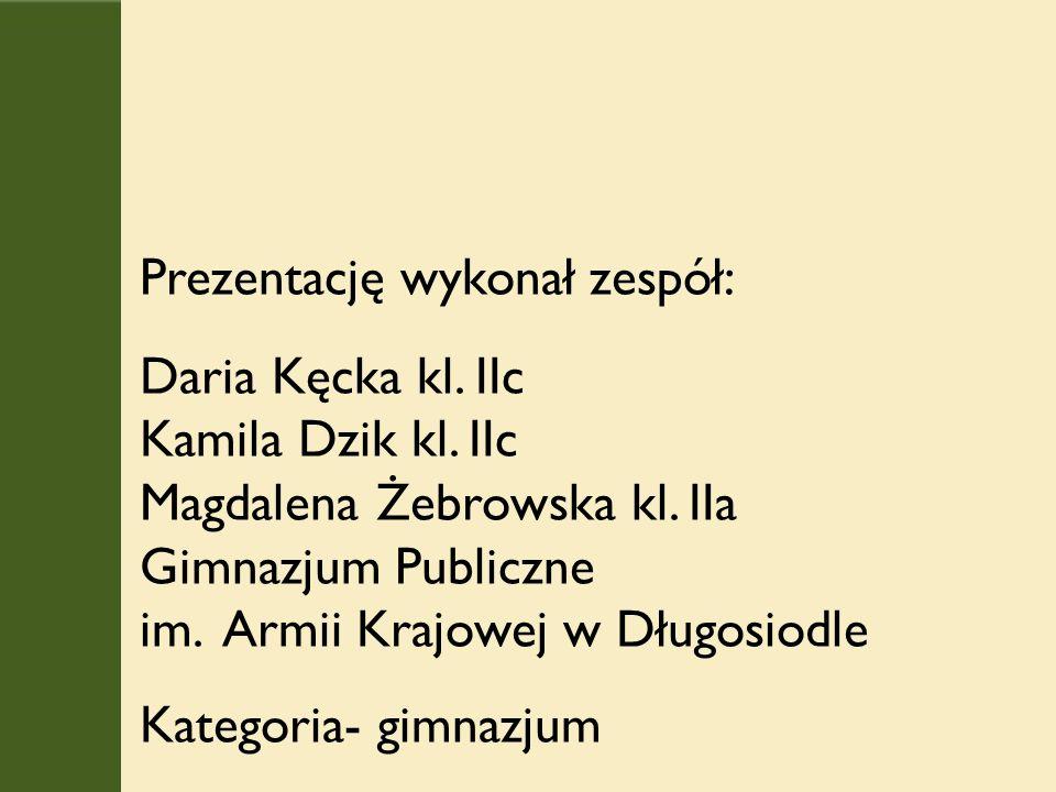 Prezentację wykonał zespół: Daria Kęcka kl. IIc Kamila Dzik kl.