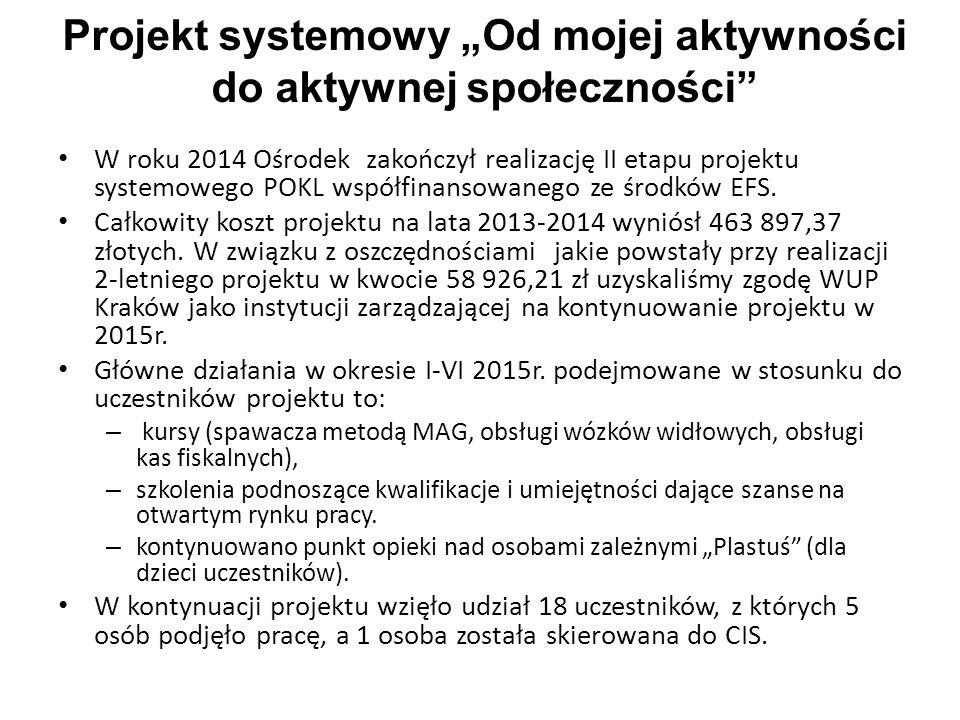 """Projekt systemowy """"Od mojej aktywności do aktywnej społeczności"""" W roku 2014 Ośrodek zakończył realizację II etapu projektu systemowego POKL współfina"""