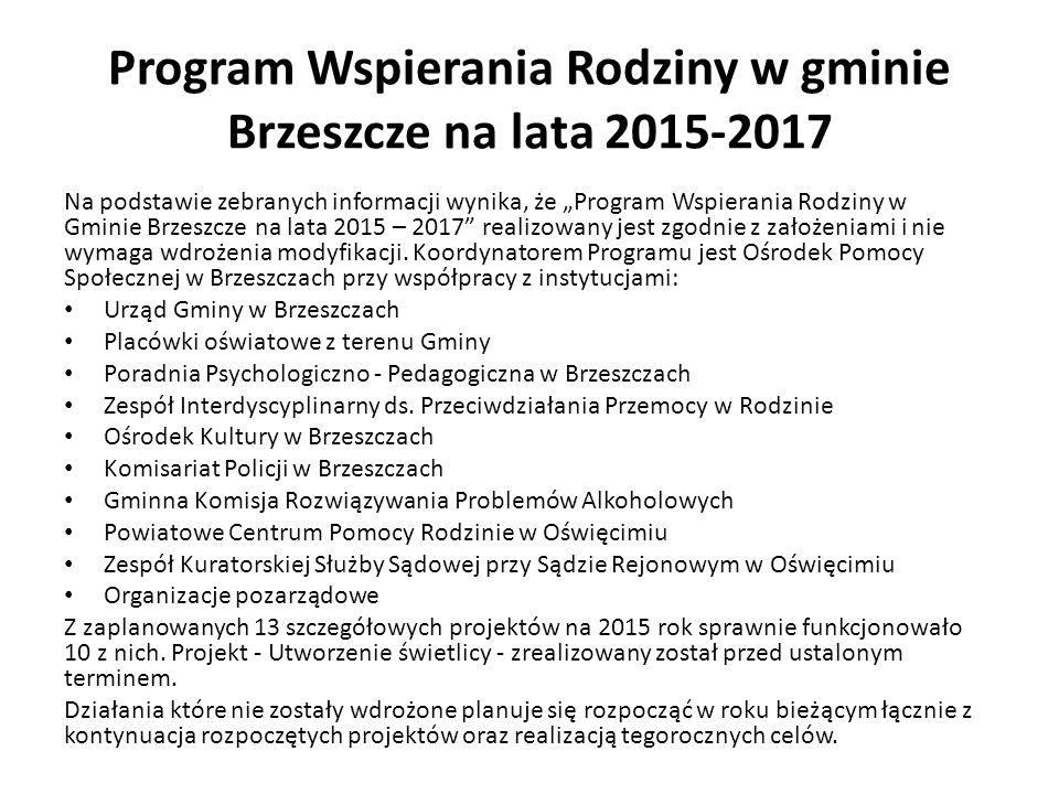 """Program Wspierania Rodziny w gminie Brzeszcze na lata 2015-2017 Na podstawie zebranych informacji wynika, że """"Program Wspierania Rodziny w Gminie Brze"""