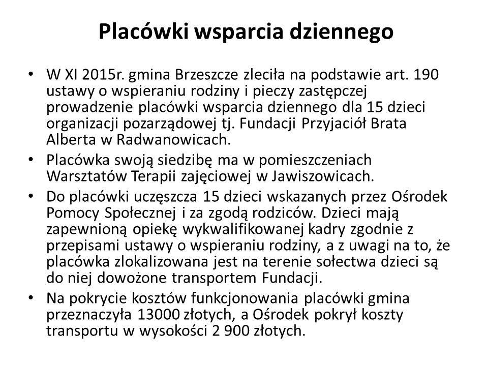 Placówki wsparcia dziennego W XI 2015r. gmina Brzeszcze zleciła na podstawie art. 190 ustawy o wspieraniu rodziny i pieczy zastępczej prowadzenie plac