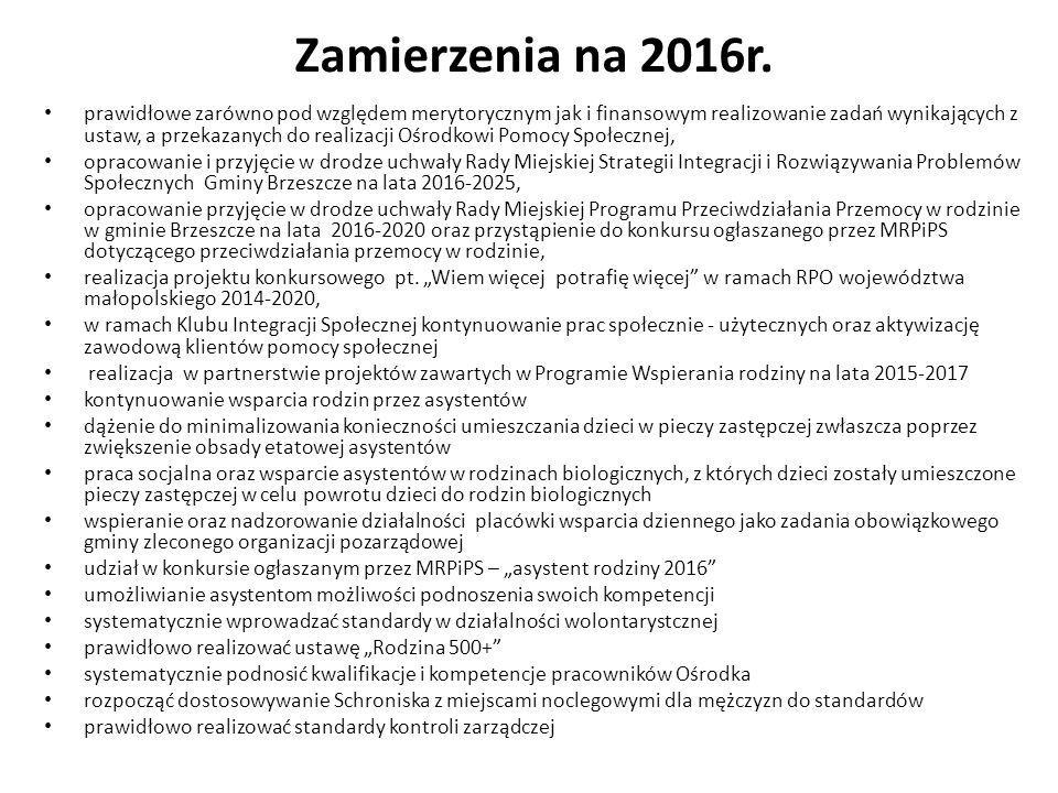 Zamierzenia na 2016r. prawidłowe zarówno pod względem merytorycznym jak i finansowym realizowanie zadań wynikających z ustaw, a przekazanych do realiz