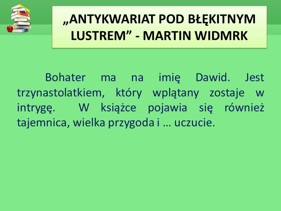 """""""ANTYKWARIAT POD BŁĘKITNYM LUSTREM"""" - MARTIN WIDMRK Bohater ma na imię Dawid. Jest trzynastolatkiem, który wplątany zostaje w intrygę. W książce pojaw"""