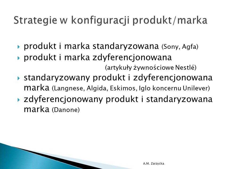  produkt i marka standaryzowana (Sony, Agfa)  produkt i marka zdyferencjonowana (artykuły żywnościowe Nestlé)  standaryzowany produkt i zdyferencjo