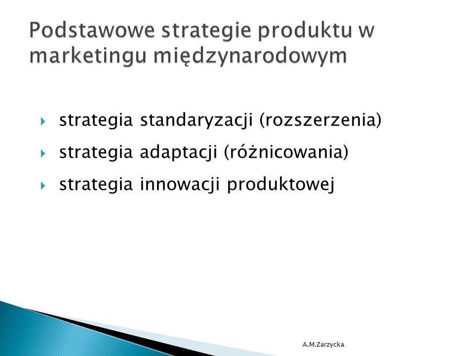  strategia standaryzacji (rozszerzenia)  strategia adaptacji (różnicowania)  strategia innowacji produktowej A.M.Zarzycka