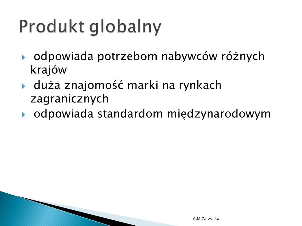  odpowiada potrzebom nabywców różnych krajów  duża znajomość marki na rynkach zagranicznych  odpowiada standardom międzynarodowym A.M.Zarzycka