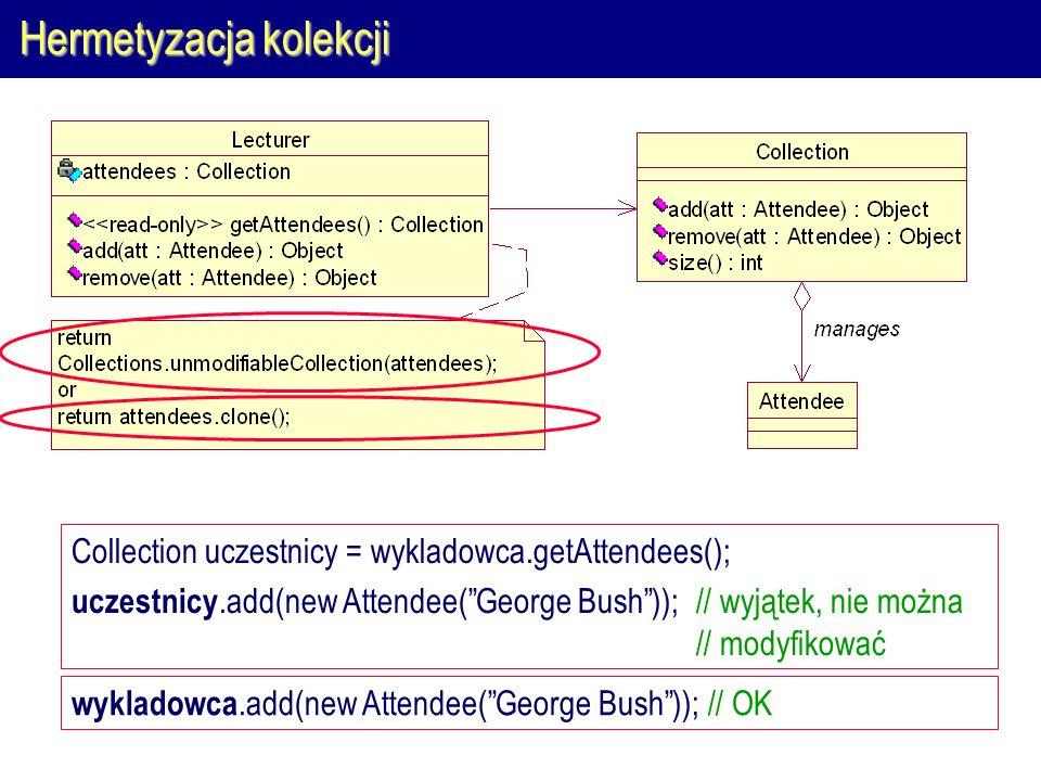 Hermetyzacja kolekcji Collection uczestnicy = wykladowca.getAttendees(); uczestnicy.add(new Attendee( George Bush )); // wyjątek, nie można // modyfikować wykladowca.add(new Attendee( George Bush )); // OK