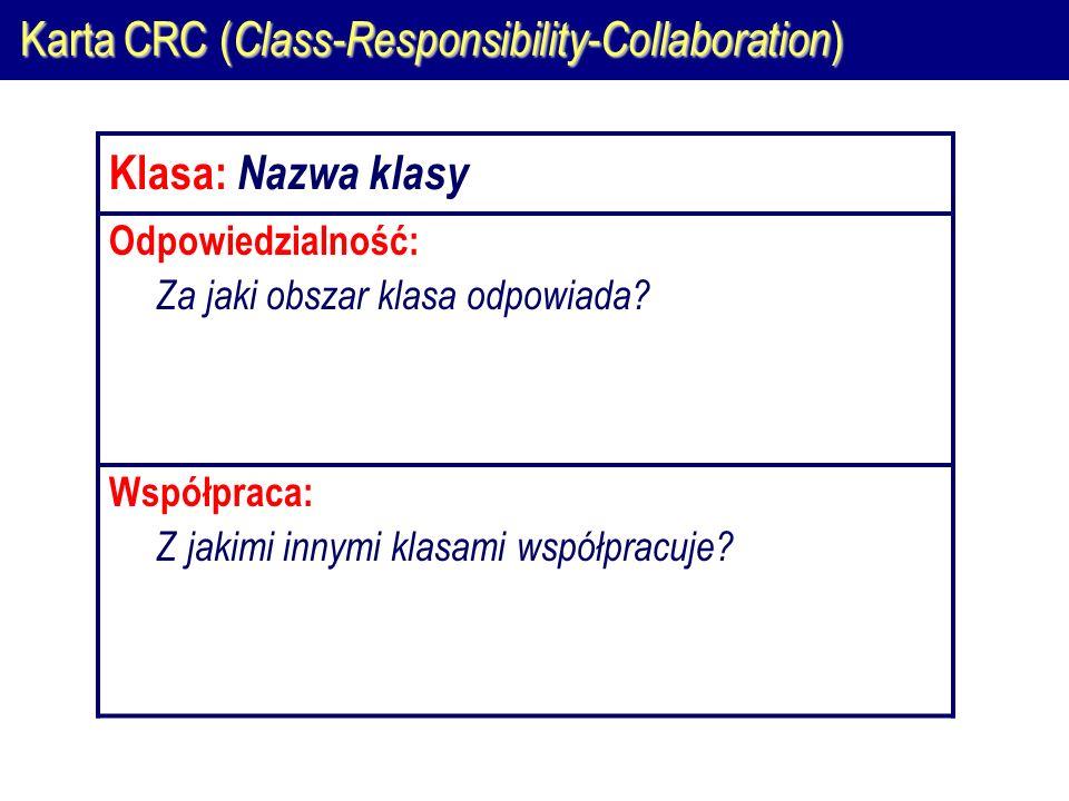 Karta CRC ( Class-Responsibility-Collaboration ) Klasa: Nazwa klasy Odpowiedzialność: Za jaki obszar klasa odpowiada.