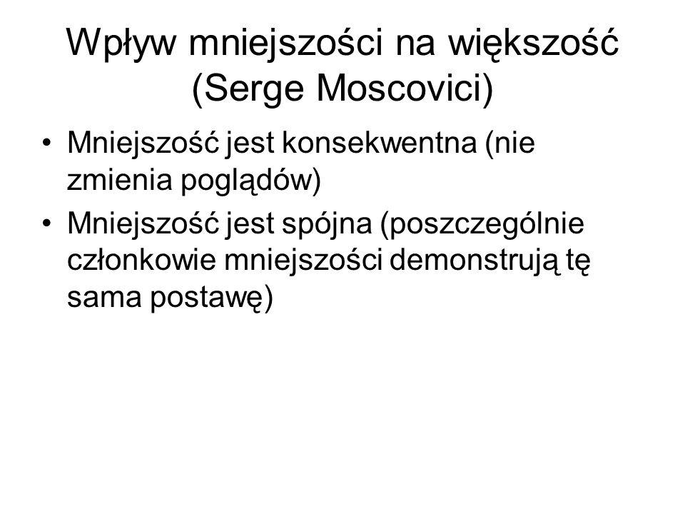 Wpływ mniejszości na większość (Serge Moscovici) Mniejszość jest konsekwentna (nie zmienia poglądów) Mniejszość jest spójna (poszczególnie członkowie mniejszości demonstrują tę sama postawę)