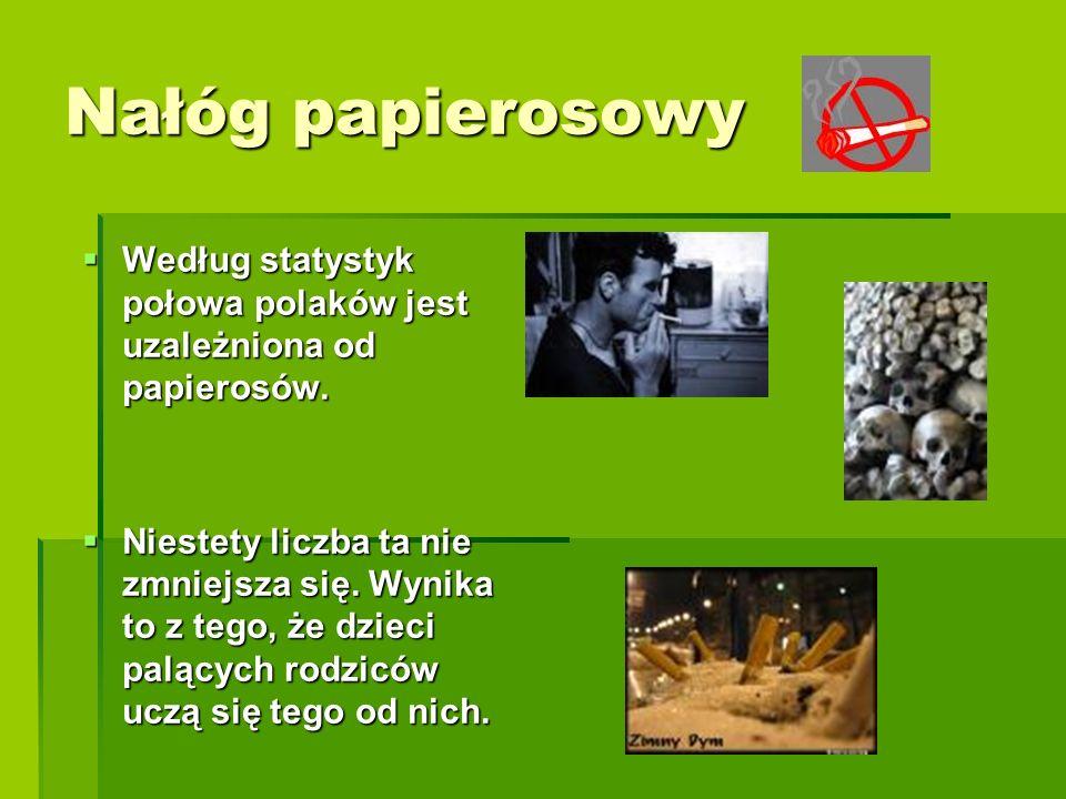 Nałóg papierosowy  Według statystyk połowa polaków jest uzależniona od papierosów.