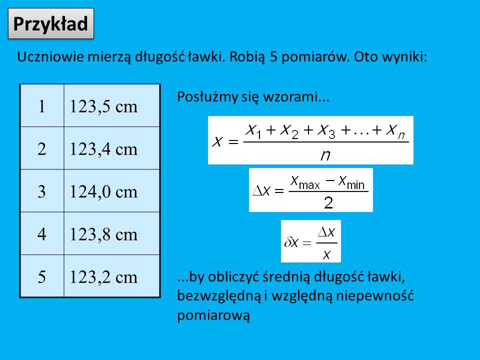 Przykład Uczniowie mierzą długość ławki. Robią 5 pomiarów.