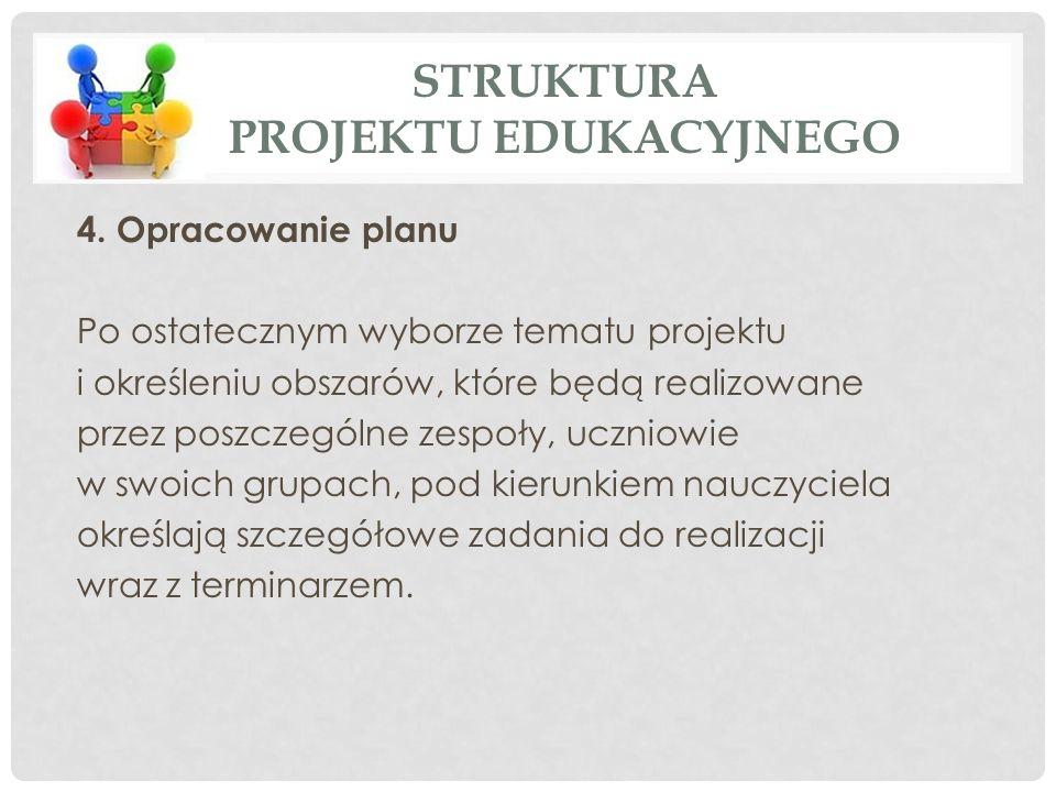 4. Opracowanie planu Po ostatecznym wyborze tematu projektu i określeniu obszarów, które będą realizowane przez poszczególne zespoły, uczniowie w swoi