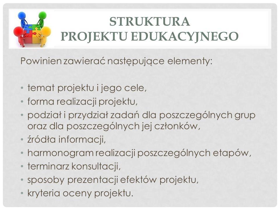 Powinien zawierać następujące elementy: temat projektu i jego cele, forma realizacji projektu, podział i przydział zadań dla poszczególnych grup oraz dla poszczególnych jej członków, źródła informacji, harmonogram realizacji poszczególnych etapów, terminarz konsultacji, sposoby prezentacji efektów projektu, kryteria oceny projektu.
