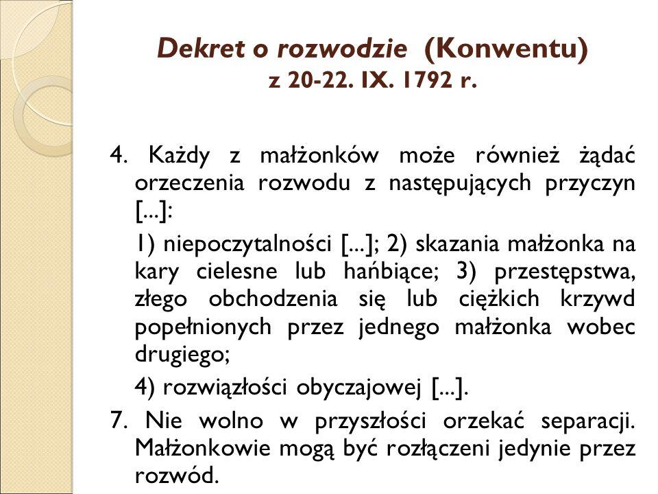 Dekret o rozwodzie (Konwentu) z 20-22. IX. 1792 r.