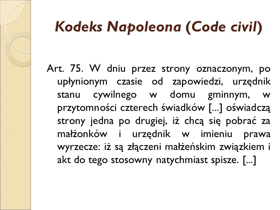 Kodeks Napoleona (Code civil) Art. 75.