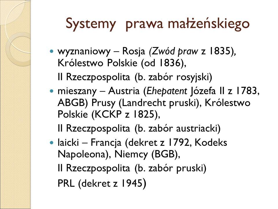 Systemy prawa małżeńskiego wyznaniowy – Rosja (Zwód praw z 1835), Królestwo Polskie (od 1836), II Rzeczpospolita (b. zabór rosyjski) mieszany – Austri