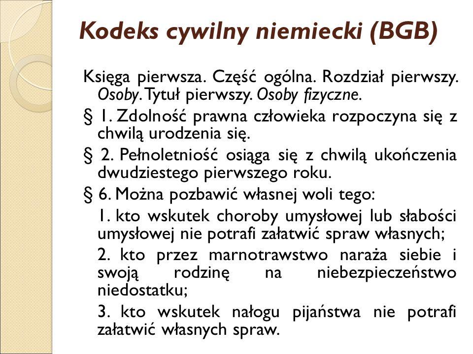 Kodeks cywilny niemiecki (BGB) Księga pierwsza. Część ogólna.