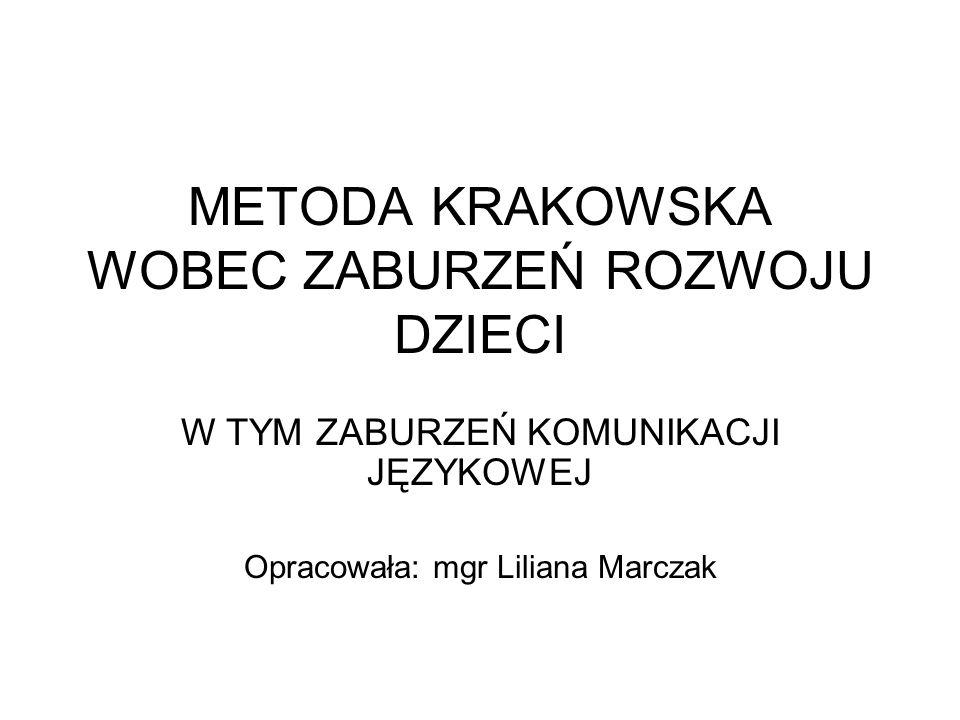 METODA KRAKOWSKA WOBEC ZABURZEŃ ROZWOJU DZIECI W TYM ZABURZEŃ KOMUNIKACJI JĘZYKOWEJ Opracowała: mgr Liliana Marczak
