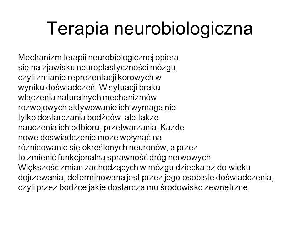 Terapia neurobiologiczna Mechanizm terapii neurobiologicznej opiera się na zjawisku neuroplastyczności mózgu, czyli zmianie reprezentacji korowych w w