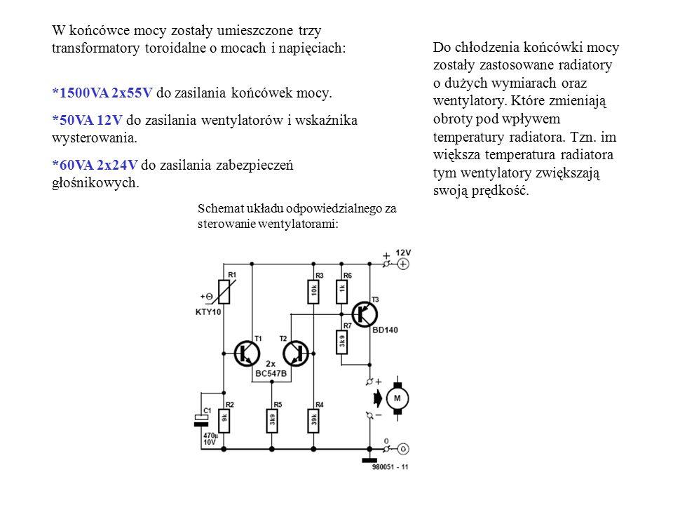 W końcówce mocy zostały umieszczone trzy transformatory toroidalne o mocach i napięciach: *1500VA 2x55V do zasilania końcówek mocy. *50VA 12V do zasil
