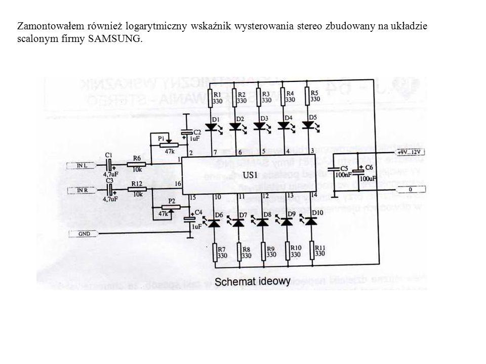 Zamontowałem również logarytmiczny wskaźnik wysterowania stereo zbudowany na układzie scalonym firmy SAMSUNG.