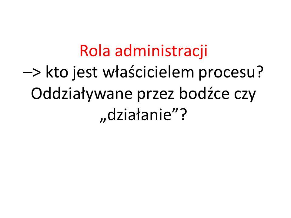 """Rola administracji –> kto jest właścicielem procesu? Oddziaływane przez bodźce czy """"działanie""""?"""