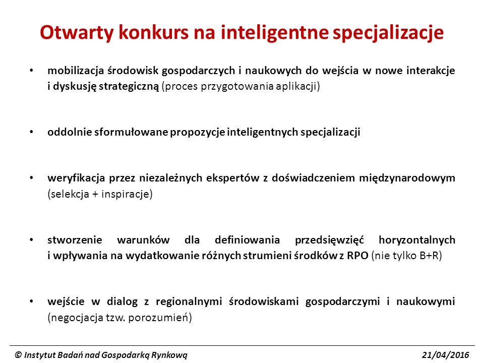 Otwarty konkurs na inteligentne specjalizacje mobilizacja środowisk gospodarczych i naukowych do wejścia w nowe interakcje i dyskusję strategiczną (proces przygotowania aplikacji) oddolnie sformułowane propozycje inteligentnych specjalizacji weryfikacja przez niezależnych ekspertów z doświadczeniem międzynarodowym (selekcja + inspiracje) stworzenie warunków dla definiowania przedsięwzięć horyzontalnych i wpływania na wydatkowanie różnych strumieni środków z RPO (nie tylko B+R) wejście w dialog z regionalnymi środowiskami gospodarczymi i naukowymi (negocjacja tzw.