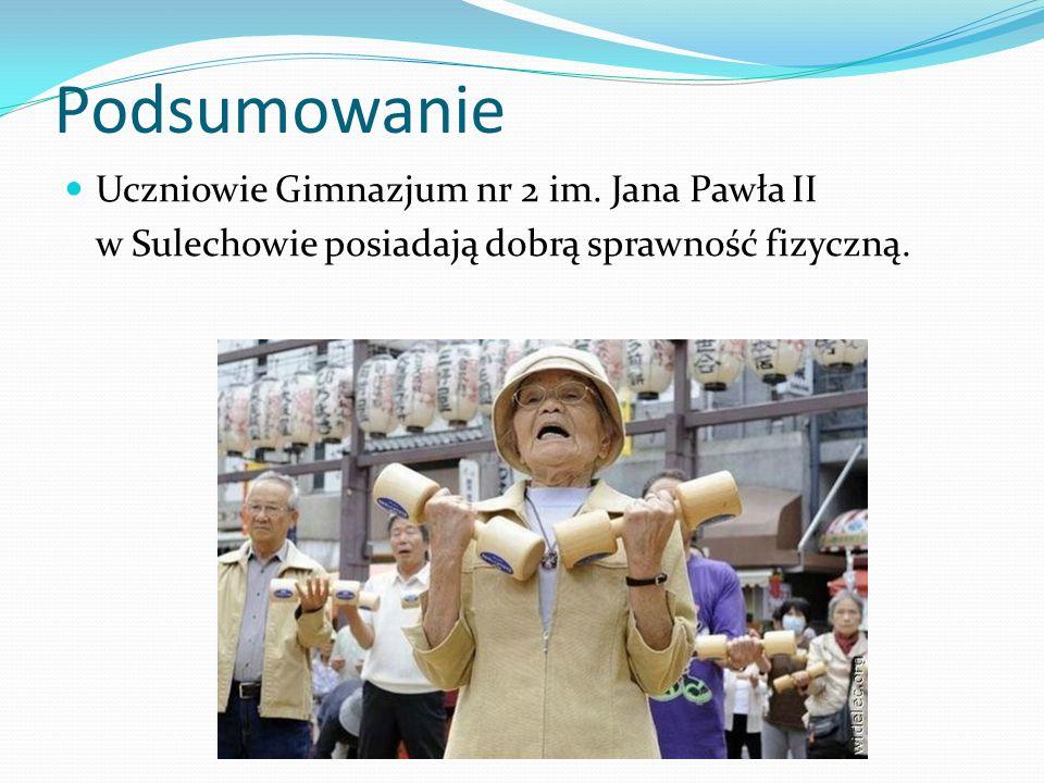 Podsumowanie Uczniowie Gimnazjum nr 2 im. Jana Pawła II w Sulechowie posiadają dobrą sprawność fizyczną.