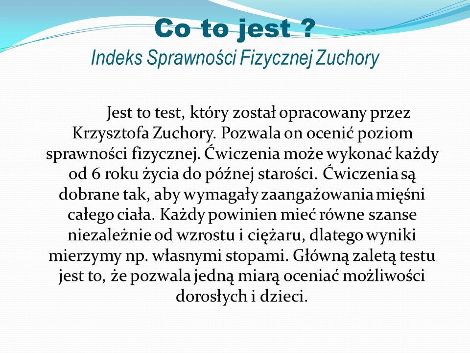 Co to jest ? Indeks Sprawności Fizycznej Zuchory Jest to test, który został opracowany przez Krzysztofa Zuchory. Pozwala on ocenić poziom sprawności f